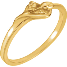 Chastity Ring, R-16606 Ladies Unblossomed Rose comes in Yellow Gold, White Gold and Sterling Silver