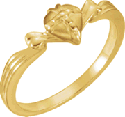 Chastity Ring, R-16608 Ladies Gift Wrapped Heart comes in Yellow Gold, White Gold and Sterling Silver