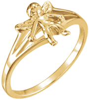 Chastity Ring, R-16610 Ladies Angel Ring comes in Yellow Gold, White Gold and Sterling Silver