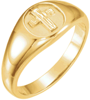 Chastity Ring, R-16612 Gents The Rugged Cross  comes in Yellow Gold, White Gold and Sterling Silver