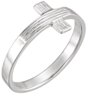 Chastity Ring, R-16614 Ladies The Rugged Cross comes in Yellow Gold, White Gold and Sterling Silver