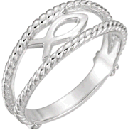 Chastity Ring, R-7020 Ladies Ichthus (Fish) comes in Yellow Gold, White Gold and Sterling Silver